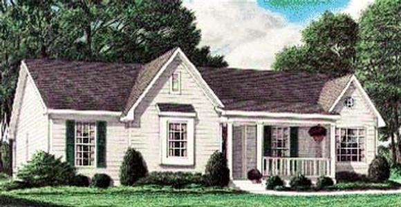 One-Story, Traditional House Plan 67018 with 3 Beds, 2 Baths Elevation