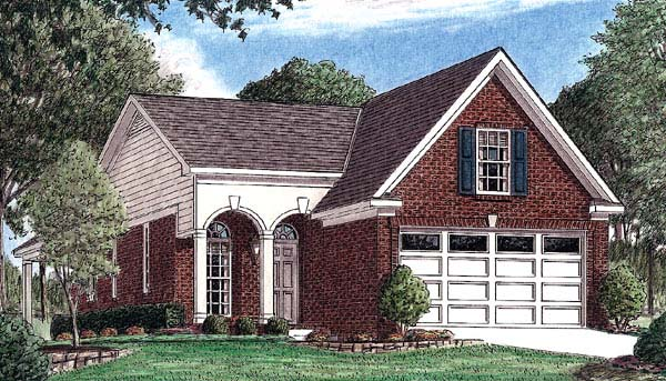 Narrow Lot, One-Story, Traditional House Plan 67020 with 3 Beds, 2 Baths, 2 Car Garage Elevation