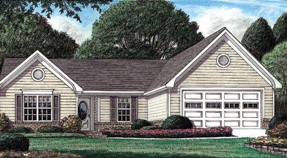 One-Story, Traditional House Plan 67025 with 3 Beds, 2 Baths, 2 Car Garage Elevation