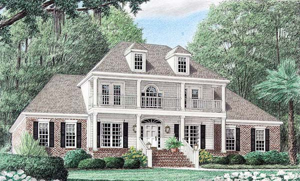 Colonial, Country, Southern House Plan 67039 with 4 Beds, 4 Baths, 2 Car Garage Elevation
