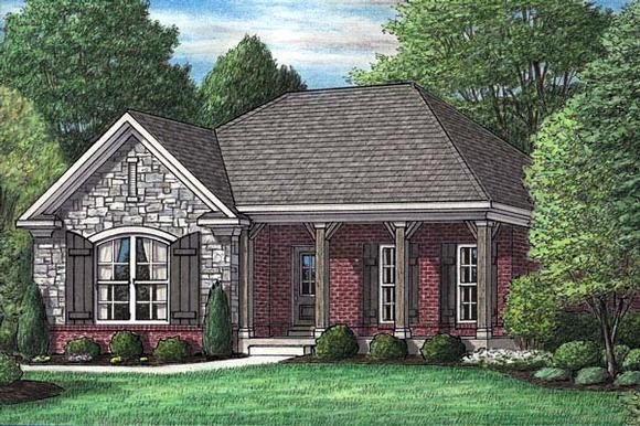 European, Narrow Lot, One-Story House Plan 67047 with 3 Beds, 2 Baths, 2 Car Garage Elevation
