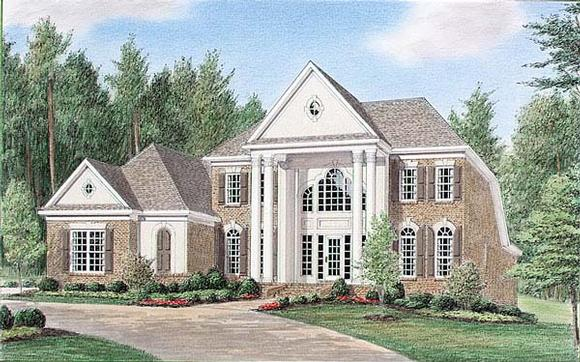 Colonial House Plan 67124 with 4 Beds, 4 Baths, 3 Car Garage Elevation
