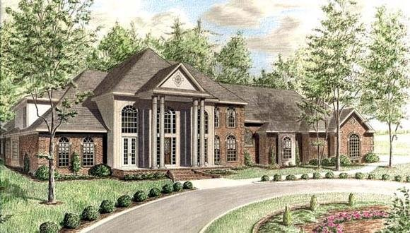 European House Plan 67127 with 6 Beds, 6 Baths, 3 Car Garage Elevation