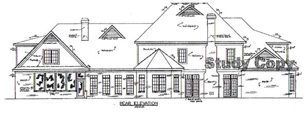 European House Plan 67127 with 6 Beds, 6 Baths, 3 Car Garage Rear Elevation