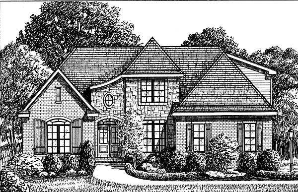 Traditional House Plan 67130 with 4 Beds, 3 Baths, 2 Car Garage Elevation