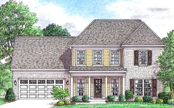 Colonial, Country, Southern, Traditional House Plan 67145 with 3 Beds, 3 Baths, 2 Car Garage Elevation