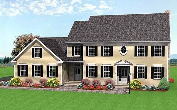 Colonial House Plan 67287 with 3 Beds, 3 Baths, 3 Car Garage Elevation