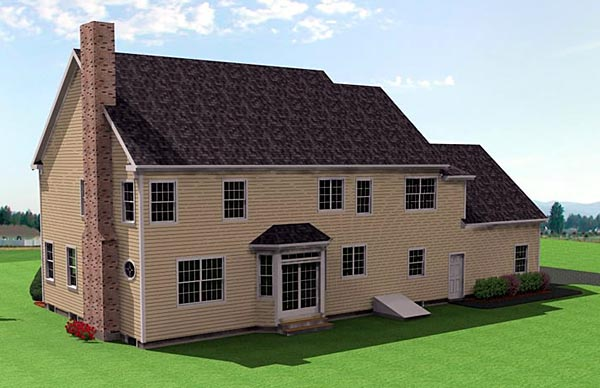 Colonial House Plan 67287 with 3 Beds, 3 Baths, 3 Car Garage Rear Elevation
