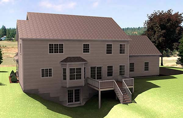 Farmhouse House Plan 67288 with 3 Beds, 3 Baths, 2 Car Garage Rear Elevation