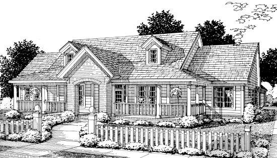 Country, Southern House Plan 67882 with 3 Beds, 3 Baths, 2 Car Garage Elevation
