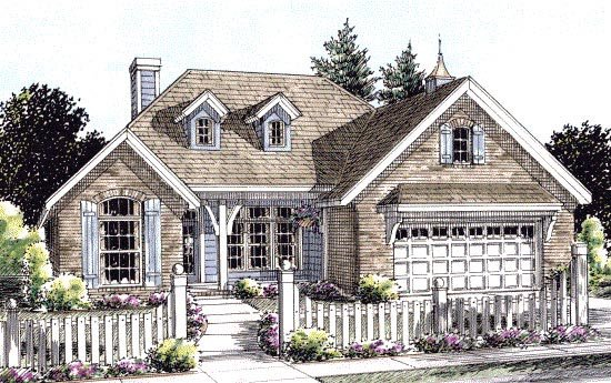 Cottage, Country House Plan 67885 with 3 Beds, 2 Baths, 2 Car Garage Elevation
