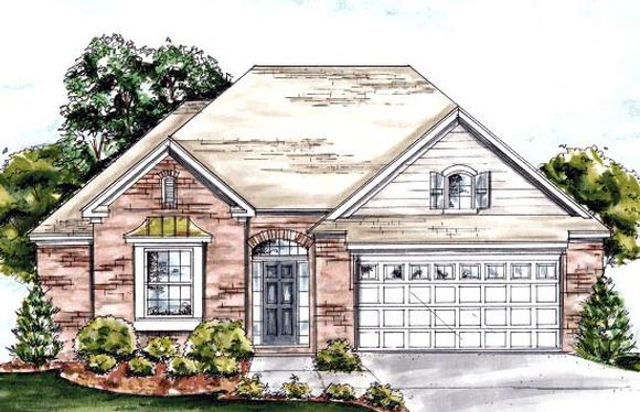 European House Plan 67886 with 2 Beds, 2 Baths, 2 Car Garage Elevation