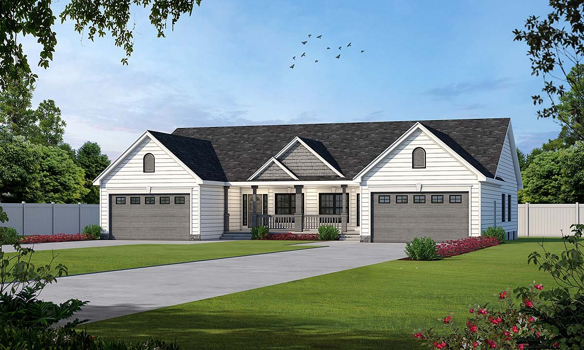 One-Story, Traditional Multi-Family Plan 68099 with 6 Beds, 4 Baths, 4 Car Garage Elevation