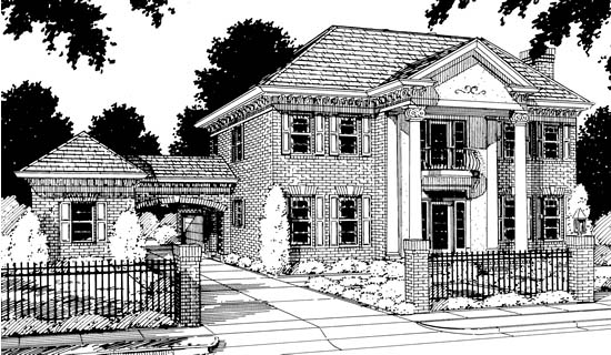 Colonial, Southern House Plan 68349 with 4 Beds, 3 Baths, 3 Car Garage Elevation