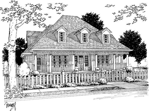 Colonial, French Country House Plan 68465 with 4 Beds, 3 Baths, 2 Car Garage Elevation
