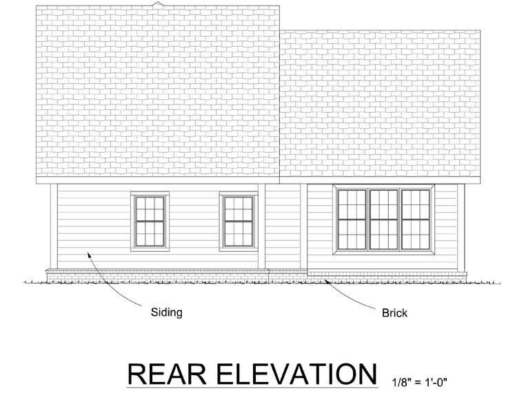 Traditional House Plan 68485 with 3 Beds, 3 Baths, 2 Car Garage Rear Elevation