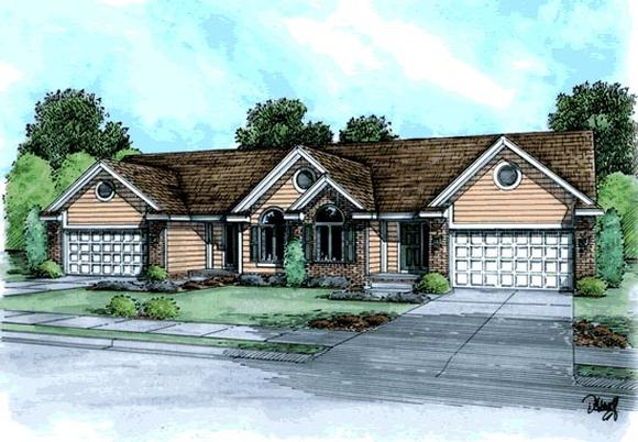 Ranch, Traditional Multi-Family Plan 68718 with 4 Beds, 4 Baths, 4 Car Garage Elevation