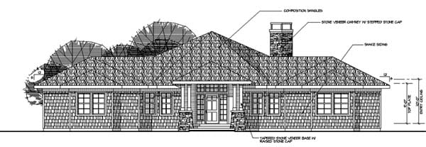 Contemporary House Plan 69143 with 3 Beds, 2 Baths, 2 Car Garage Rear Elevation