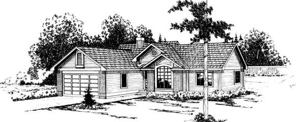 One-Story, Ranch House Plan 69206 with 3 Beds, 2 Baths, 2 Car Garage Elevation