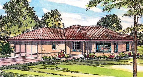 One-Story, Ranch, Southwest House Plan 69346 with 3 Beds, 1 Baths, 2 Car Garage Elevation