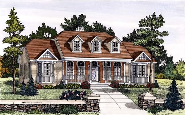 Cape Cod, Country House Plan 69508 with 4 Beds, 2 Baths, 2 Car Garage Elevation