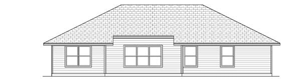 Traditional House Plan 69915 with 4 Beds, 2 Baths, 2 Car Garage Rear Elevation