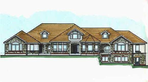 Victorian House Plan 70522 with 6 Beds, 5 Baths, 3 Car Garage Elevation
