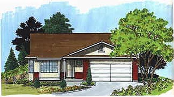 Traditional House Plan 70527 with 3 Beds, 1 Baths, 2 Car Garage Elevation