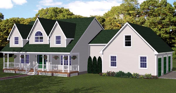 House Plan 71902 with 3 Beds, 3 Baths, 3 Car Garage Elevation
