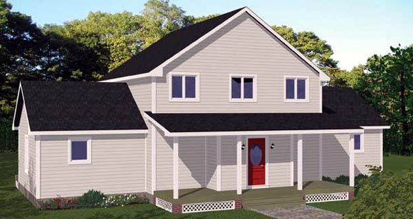 House Plan 71909 with 3 Beds, 3 Baths Rear Elevation
