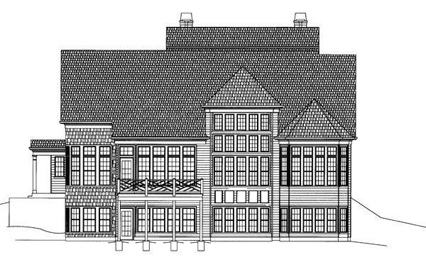 Colonial, Greek Revival House Plan 72029 with 4 Beds, 4 Baths, 3 Car Garage Rear Elevation