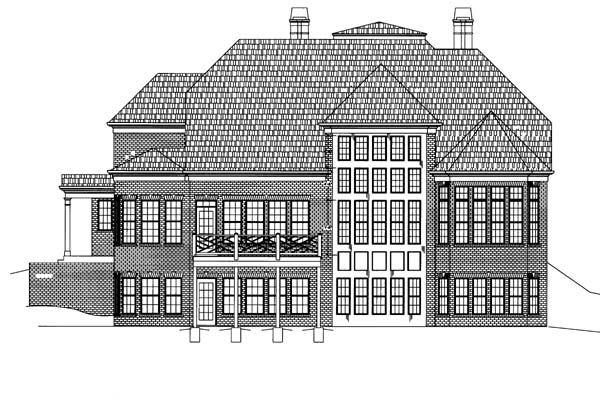Colonial, Greek Revival House Plan 72060 with 4 Beds, 4 Baths, 3 Car Garage Rear Elevation