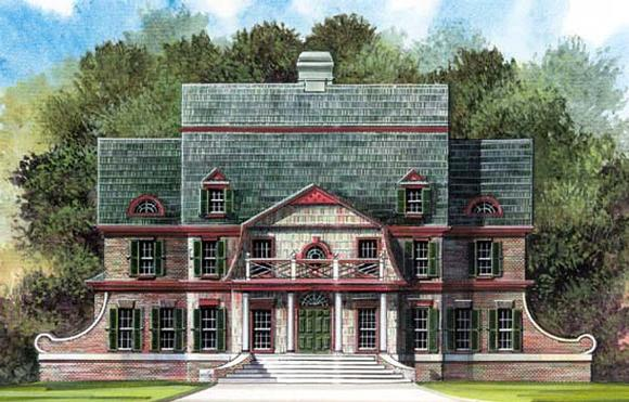 Colonial, European, Greek Revival House Plan 72062 with 4 Beds, 4 Baths, 2 Car Garage Elevation