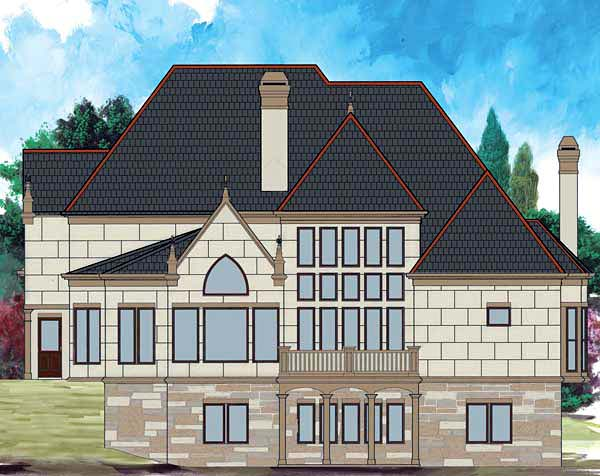 European, Greek Revival House Plan 72209 with 4 Beds, 3 Baths, 3 Car Garage Rear Elevation