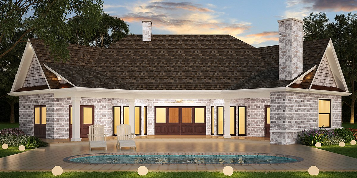 Country, Craftsman, Traditional House Plan 72238 with 3 Beds, 3 Baths, 3 Car Garage Rear Elevation
