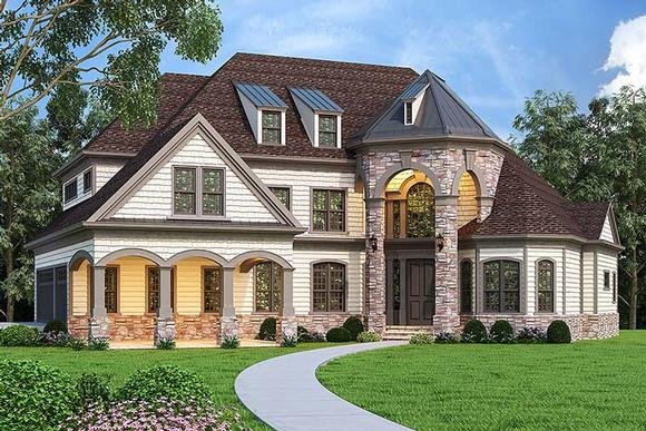 Country, European, French Country House Plan 72249 with 4 Beds, 4 Baths, 3 Car Garage Elevation