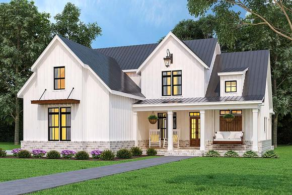 Country, Farmhouse, Southern House Plan 72252 with 3 Beds, 4 Baths, 2 Car Garage Elevation