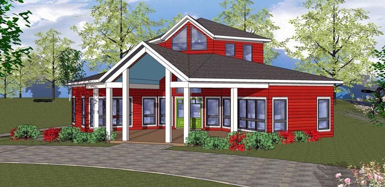 Cabin, Cottage, Southern House Plan 72329 with 2 Beds, 1 Baths Elevation