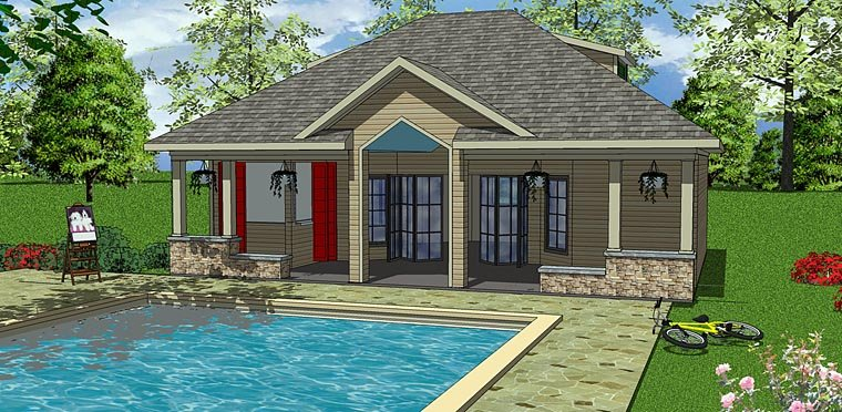 Contemporary, Cottage House Plan 72374 with 1 Beds, 1 Baths Elevation