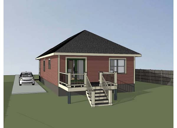 Bungalow House Plan 72710 with 3 Beds, 2 Baths Rear Elevation