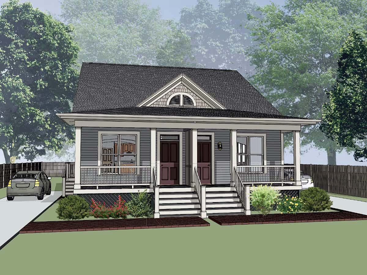 Multi-Family Plan 72786 with 4 Beds, 4 Baths Elevation