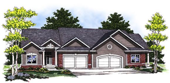 Traditional Multi-Family Plan 73033 with 4 Beds, 4 Baths, 4 Car Garage Elevation