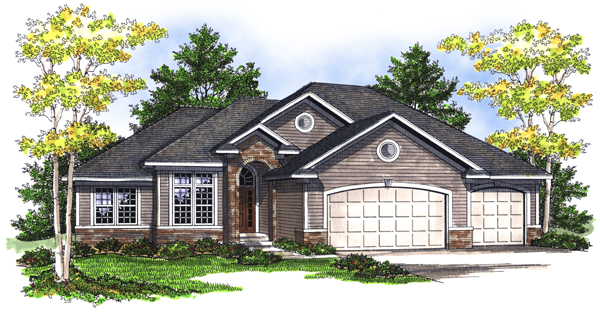 One-Story House Plan 73081 with 5 Beds, 3 Baths, 3 Car Garage Elevation