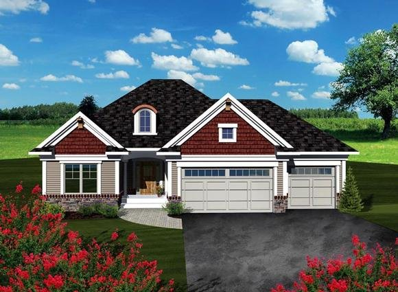 Ranch House Plan 73259 with 2 Beds, 2 Baths, 3 Car Garage Elevation