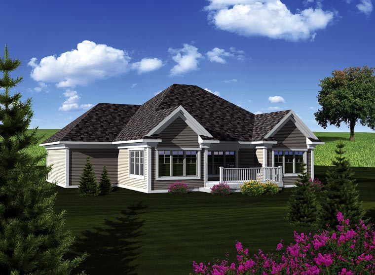 Ranch House Plan 73259 with 2 Beds, 2 Baths, 3 Car Garage Rear Elevation