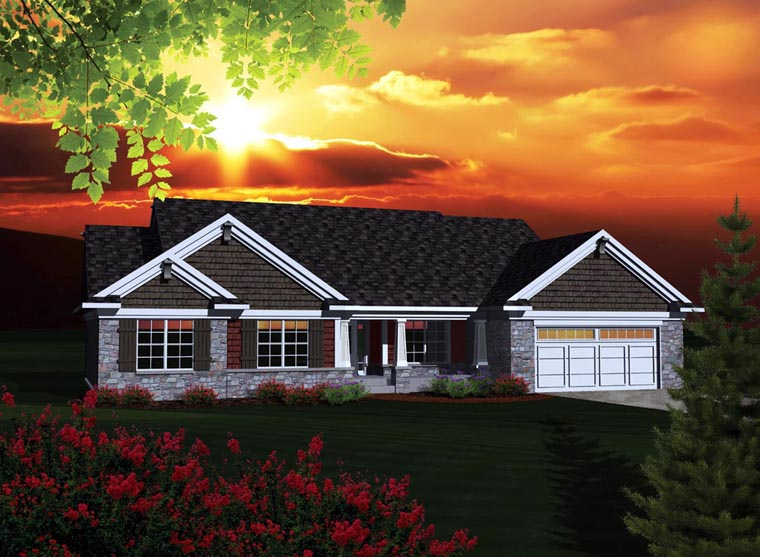 Ranch House Plan 73301 with 3 Beds, 3 Baths, 3 Car Garage Elevation