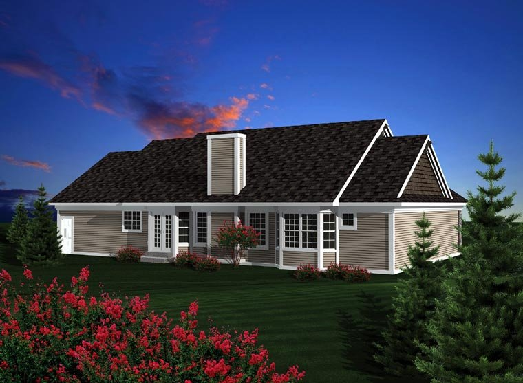 Ranch House Plan 73301 with 3 Beds, 3 Baths, 3 Car Garage Rear Elevation