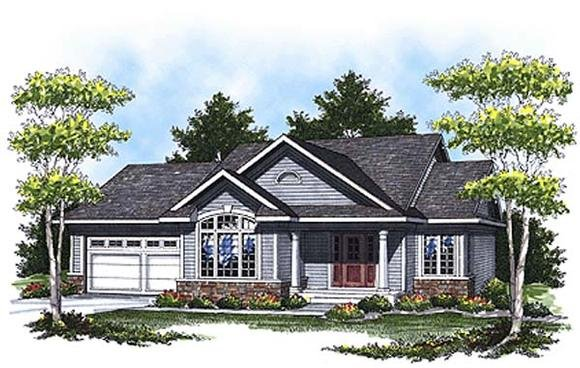 Colonial, Traditional House Plan 73326 with 4 Beds, 2 Baths, 2 Car Garage Elevation