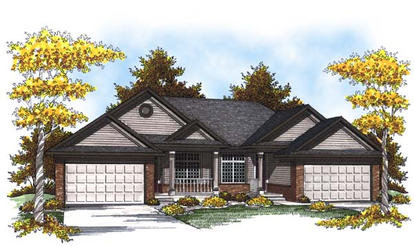 Traditional Multi-Family Plan 73451 with 4 Beds, 4 Baths, 4 Car Garage Elevation