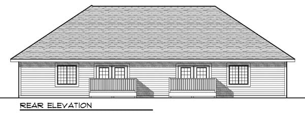 Traditional Multi-Family Plan 73451 with 4 Beds, 4 Baths, 4 Car Garage Rear Elevation